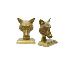 Cast Brass Fox Bookends, England