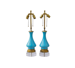 French Blue Opaline Lamps on Custom Lucite Bases, Pair
