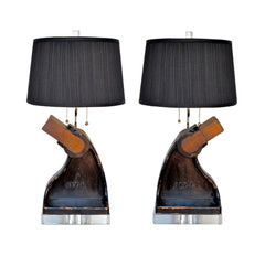 Industrial Stirrup Lamp Pair