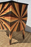 Bombe Form Commode of Sunburst Marquetry