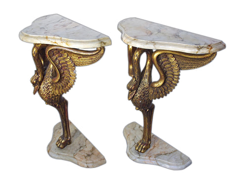 Swan Form Console Pair