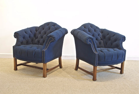 Button Tufted Club Chairs in Navy Canvas Twill.
