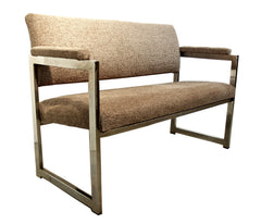 Chrome & Tweed Mid-Century Modern Settee
