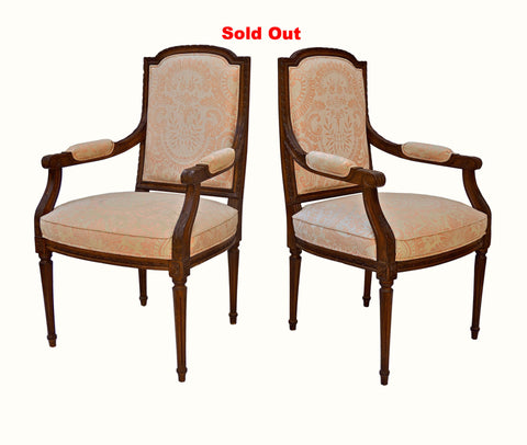 Vintage French Armchairs in Fortuny