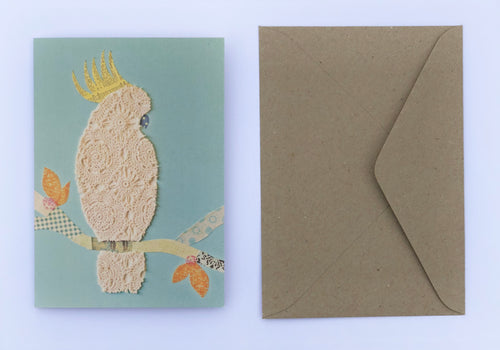 White Cocky 100% Recycled Greeting Card