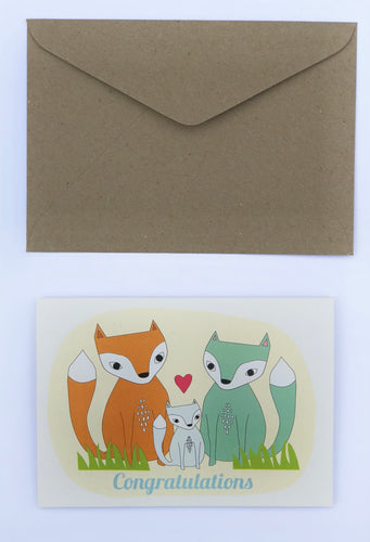 The Foxies 'Congratulations' 100% Recycled Greeting Card