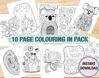 Colouring In Book - 10 Pages A4 Instant Digital Download - 10 Coloring in Pages - Printables