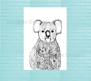 Colouring In Poster / Instant Digital Download A1 Printable Poster / Charlie the Koala Design