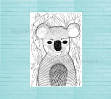 Load image into Gallery viewer, Colouring In Poster / Instant Digital Download A1 Printable Poster / Clarence the Koala Design