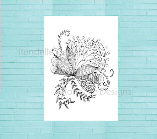 Colouring In Poster / Instant Digital Download A1 Printable Poster / Flower Flourish