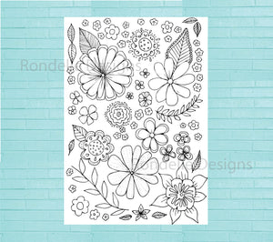 Colouring in Poster - Flower Collage - Choose your size