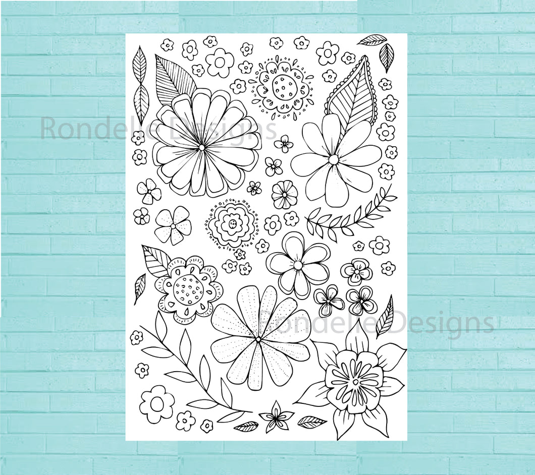 Colouring In Poster / Instant Digital Download A1 Printable Poster / Flower Collage Design