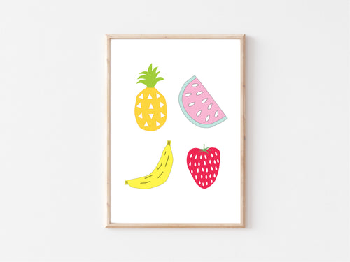 Printable Wall Art / A1 Size / Fruity Fun Illustration