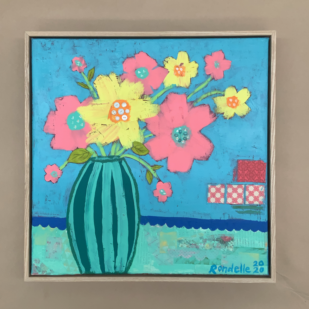 Happy Flowers - Framed Original Acrylic and mixed media Painting on Canvas