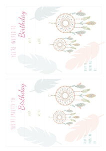 Dreamcatcher Birthday Party Invitation - Printable PDF File