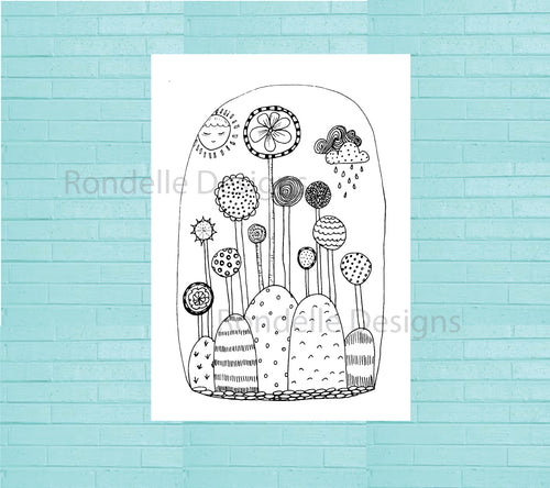 Colouring In Poster / Instant Digital Download A1 Printable Poster / Lollipop Land