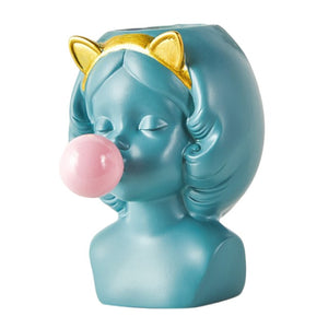 Super Cute Bubble blowing Girl Planter for succulents and indoor plants