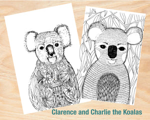Colouring In Poster / Instant Digital Download A1 Printable Poster / Clarence the Koala Design