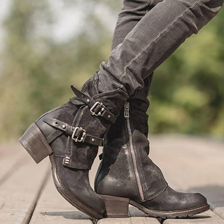 418bc03901430 ... Load image into Gallery viewer, Women Plus Size Vintage Buckle Side  Zipper Round Toe Boots ...