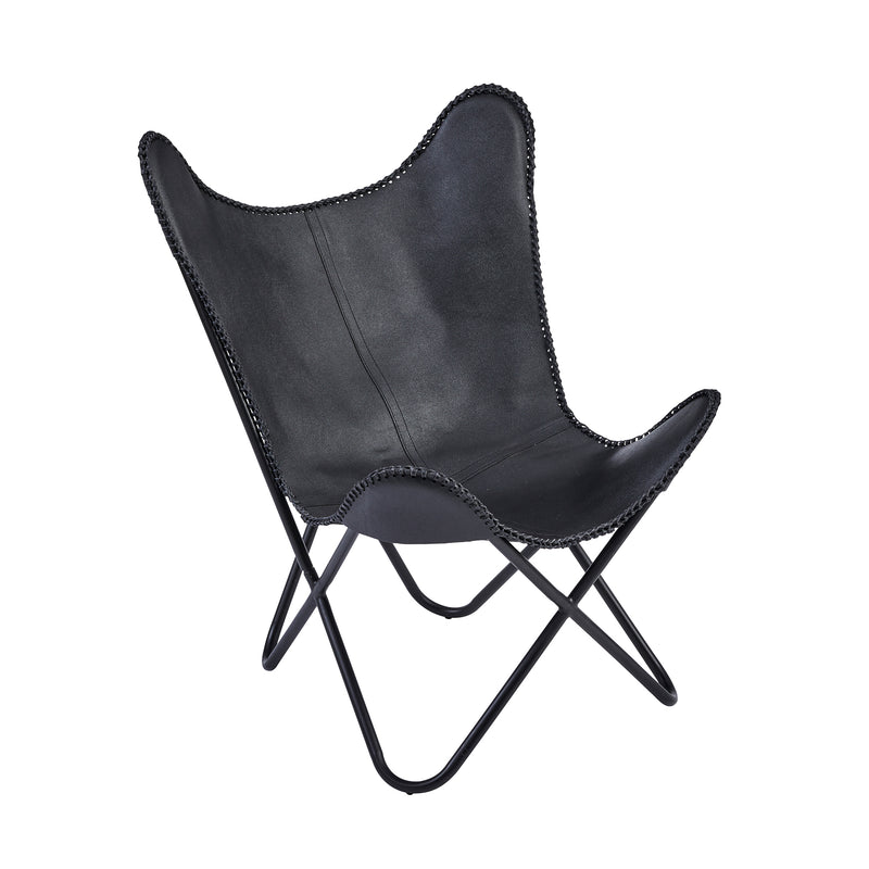 Black Leather Butterfly Chair