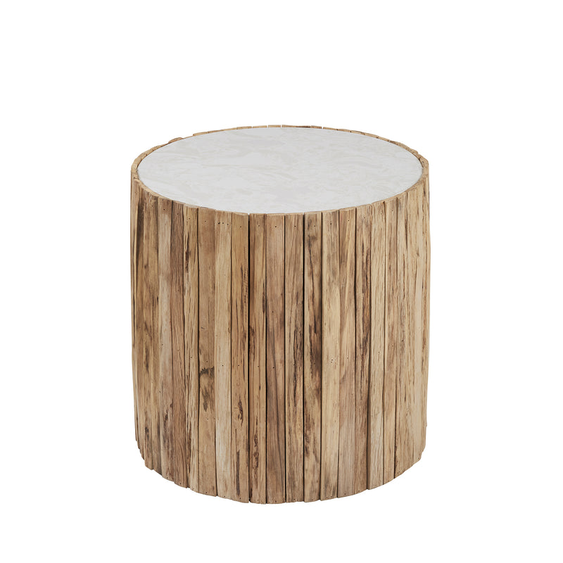 Wooden Stone Side Table