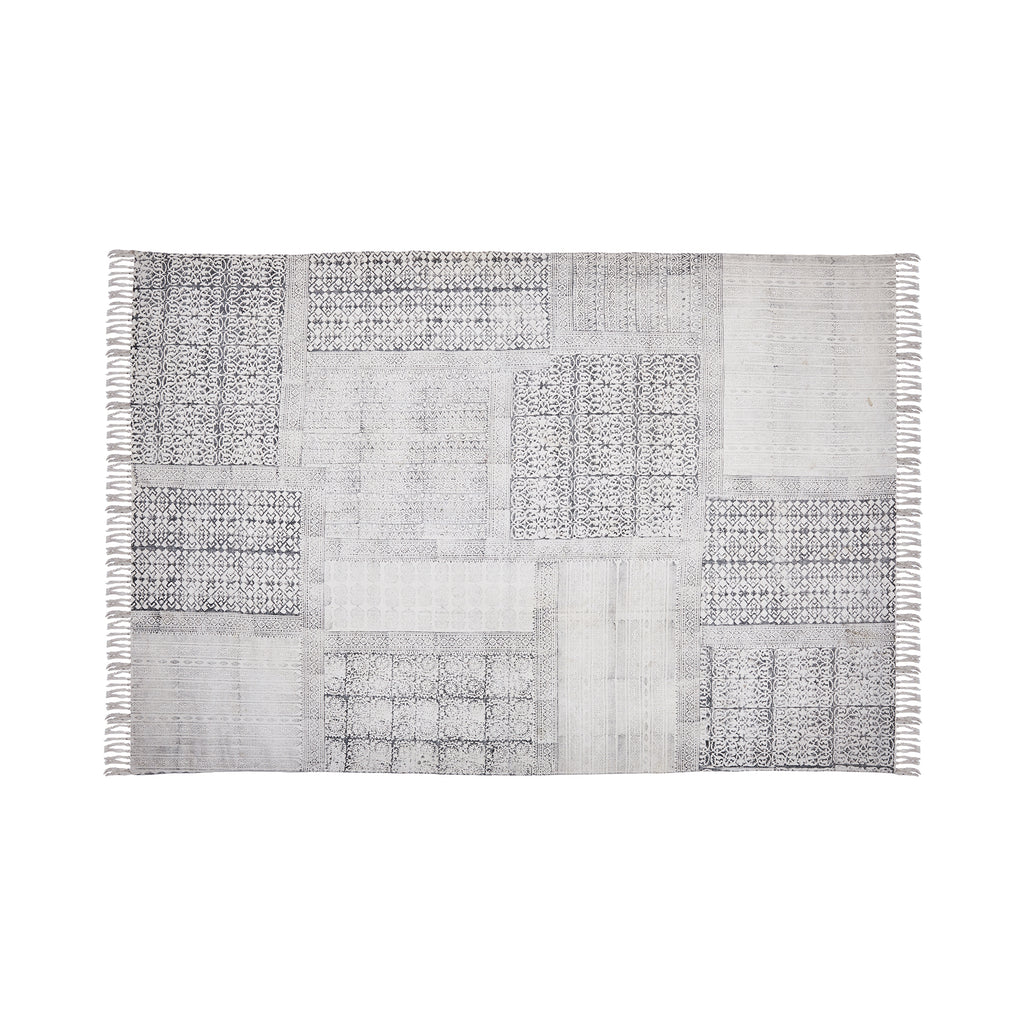 Cotton Grey Patchwork Rug