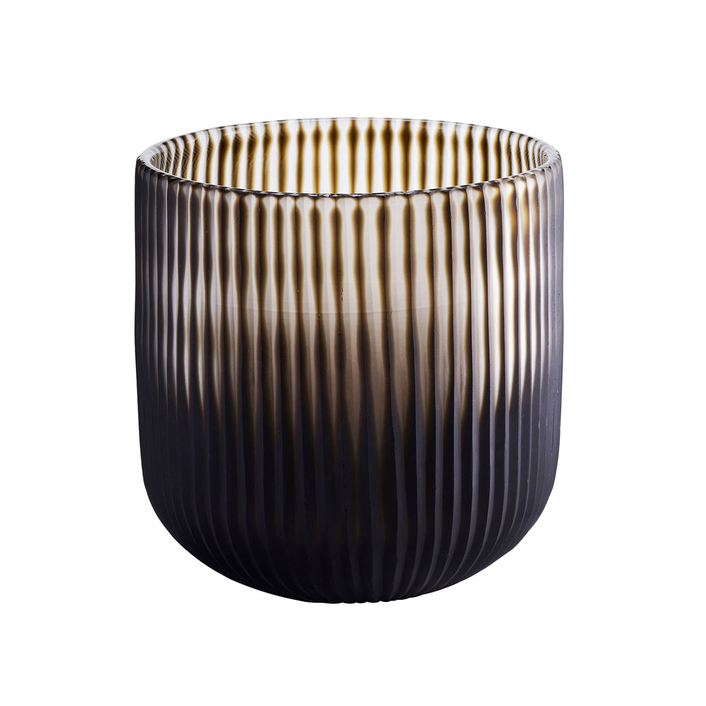 Chocolate Ribbed Vase