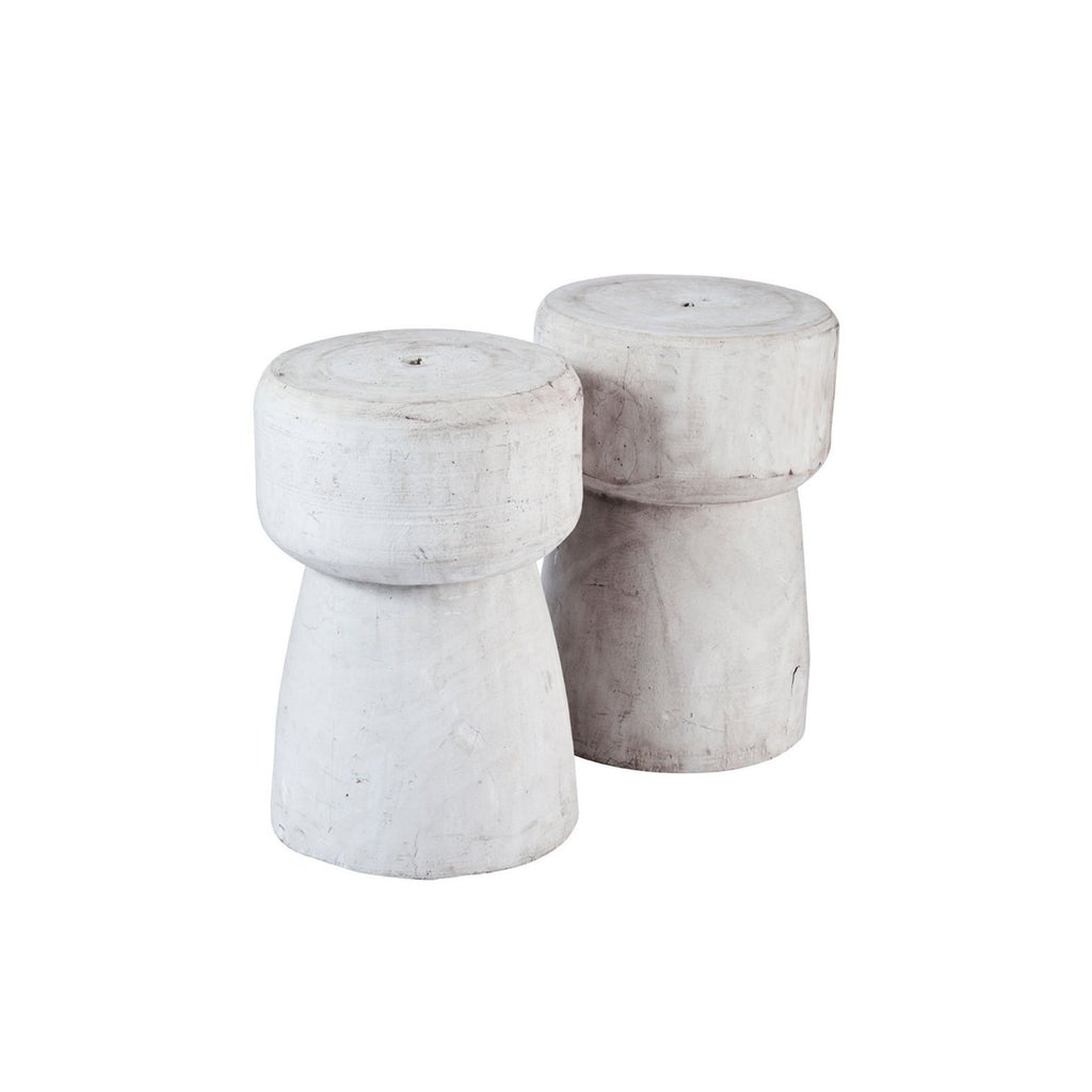 Whitewash Wooden Cork Stool
