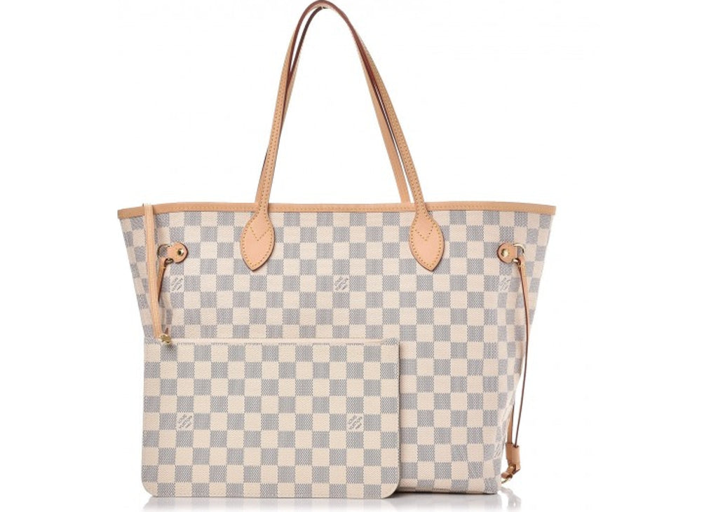 5890c20e6 Louis Vuitton Neverfull Damier Azur MM (With Pouch) Ivorie Grey