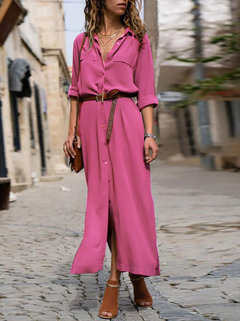 Woman Elegant Long Dress Casual 3/4 Sleeve Shawl Collar Casual Dress