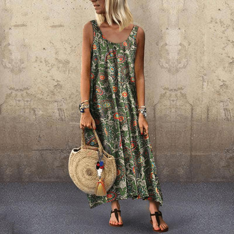 Summer Leisure Vacation Printing Sexy Round Neck Sleeveless Dress