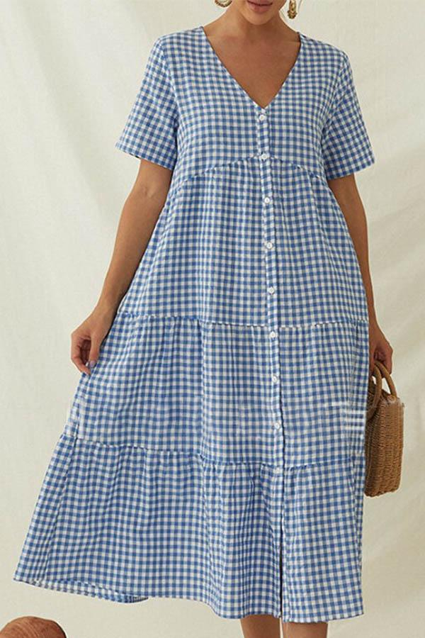 Paneled Plaid Print Buttons Down V-neck Casual Midi Dress