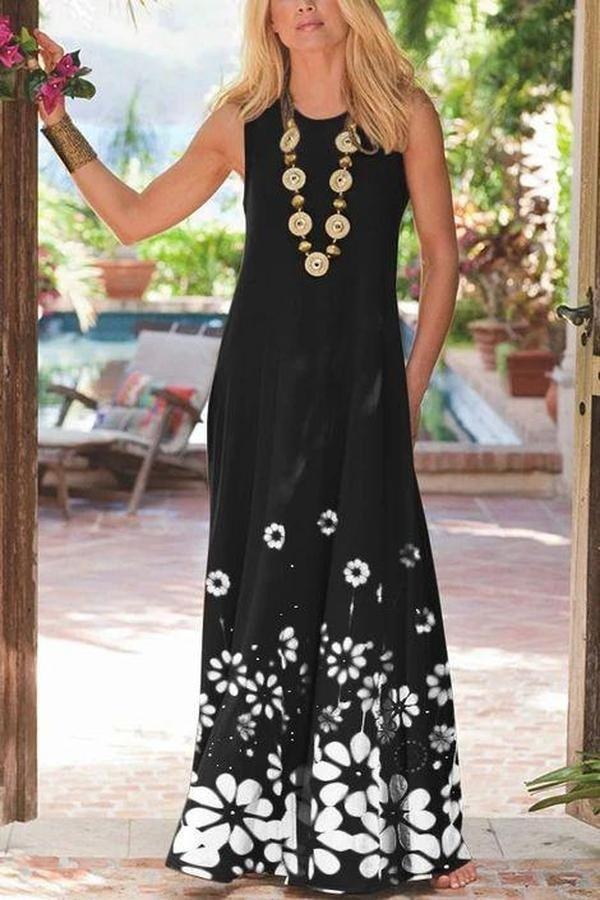 Elegant Round Neck Sleeveless Printed Vacation Dress