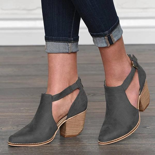 Buckle Cut Out Chunky Heel Zipper Boots