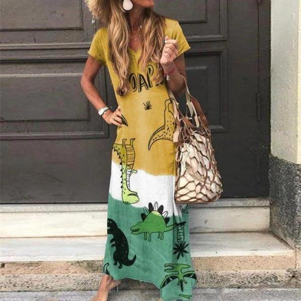 Casual Boho Print Short Sleeve Maxi Dress