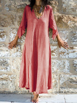 Cotton-Blend V Neck Swing Half Sleeve Casualdress
