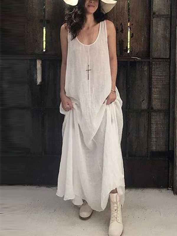 Solid Linen U-Neck Casual Casualdress