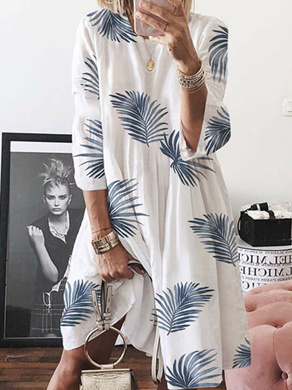 Half Sleeve Cotton-Blend A-Line Round Neck Summer Dress