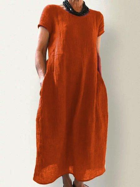 Casual Pockets Round Neck Solid Casualdress