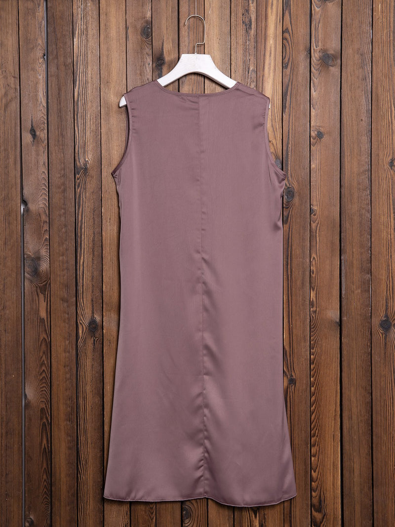 Coffee Sleeveless Cotton-Blend V Neck Skirts