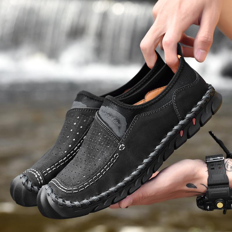 mens casual walking loafers shoes comfortable leather slip on for men walking shoes