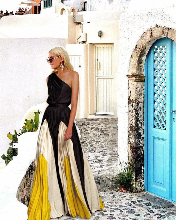 Fashion One Shoulder Sleeveless Color Block Maxi Dress