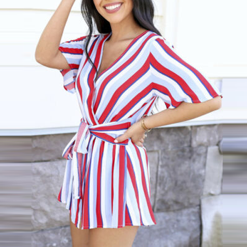 Mini Dress Backless Beachwear V-Neck Striped Casual Sundress Fashion