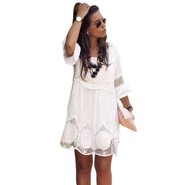 Plus Size S - 6XL Women Dress Fashion Half Sleeve Loose Lace Dress