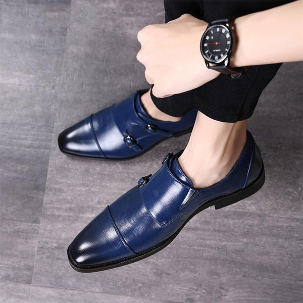 Men Pointed Toe Genuine Leather Party Luxury Wedding Formal Flats Shoes