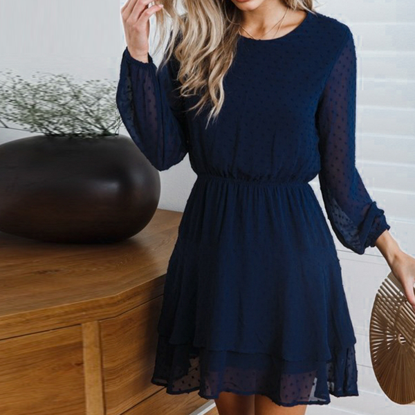 Casual Elegant Long Sleeve Polka Dot Dress
