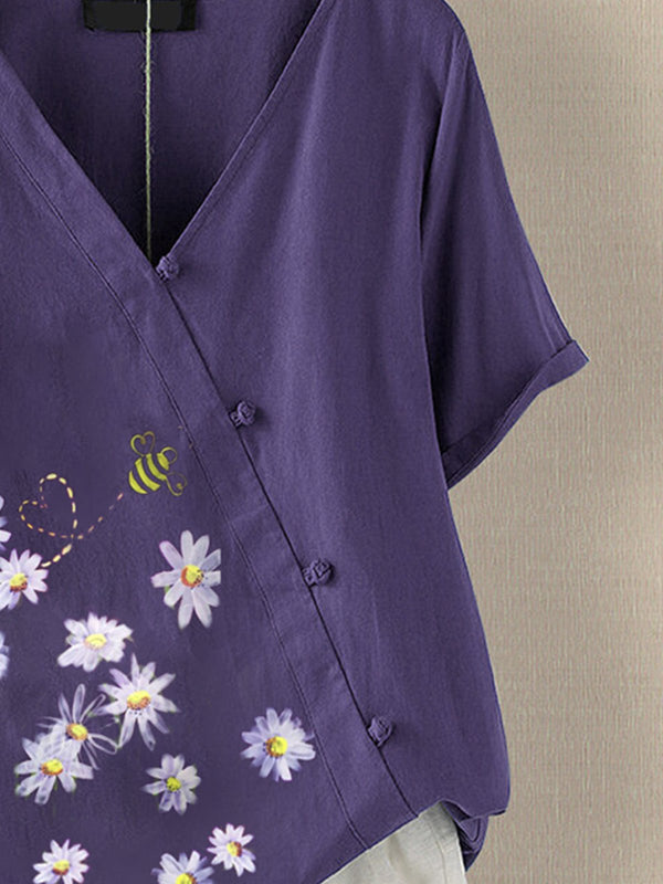Violet Floral Floral-Print Casual Cotton-Blend Shirts & Tops