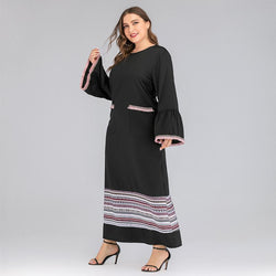 New Large Size Women's Autumn and Winter Dress Contrast Casual Dress