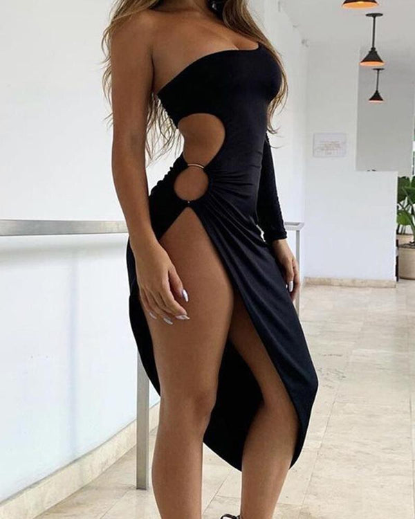 Solid One Shoulder Cut Out Dress