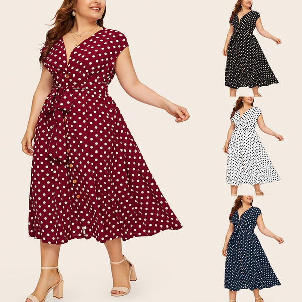 Women's Plus Size Polka Dot Dress Button Tie Waist V-neck Skirt